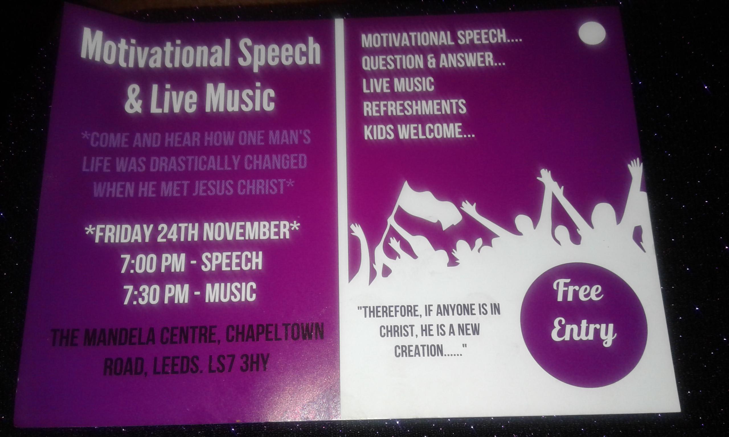 Motivational Speech And Live Music - Community Highlights Leeds